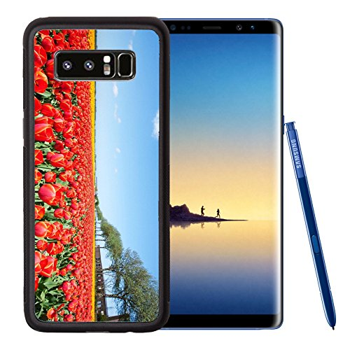 Liili Premium Samsung Galaxy Note8 Aluminum Backplate Bumper Snap Case IMAGE ID: 21231640 A large field with blooming red tulips and blue sky in the (Big Sky Carving)