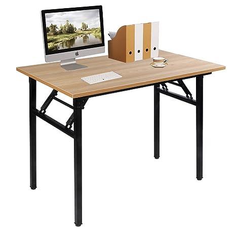 Need Mesa Plegable 100x60cm Mesa de Ordenador Escritorio de Oficina Mesa de Estudio Puesto de trabajo Mesas Teca Roble Color AC5BB-100