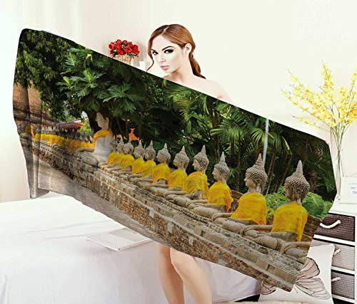 Anniutwo Asian,Bath Towel,Picture Aligned Religious Statues in Thailand Traditional Thai Design,Bathroom Towels,Cream Yellow Green Size: W 31.5'' x L 63'' by Anniutwo