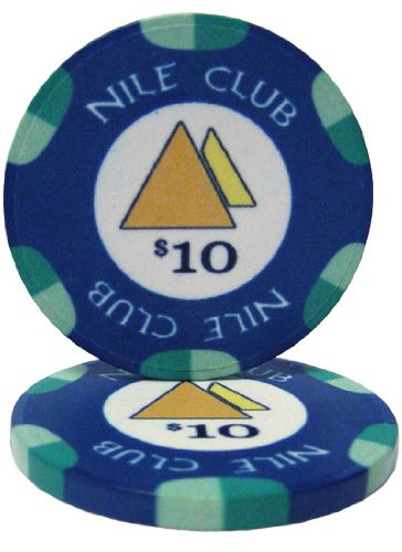 - 25 $10 Nile Club 10 Gram Ceramic Casino Quality Poker Chips
