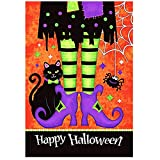 Morigins Trick Or Treat Witch Feet 28 x 40 Black Kitty Spider Decorative Happy Halloween Double Sided House Flag