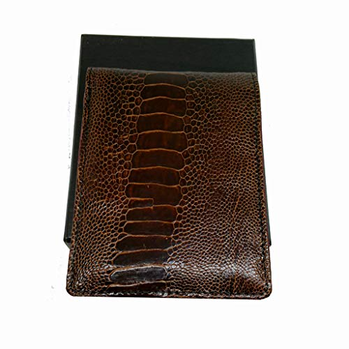 (Genuine Ostrich Leg Skin Leather Man Bifold Wallet Dark brown)