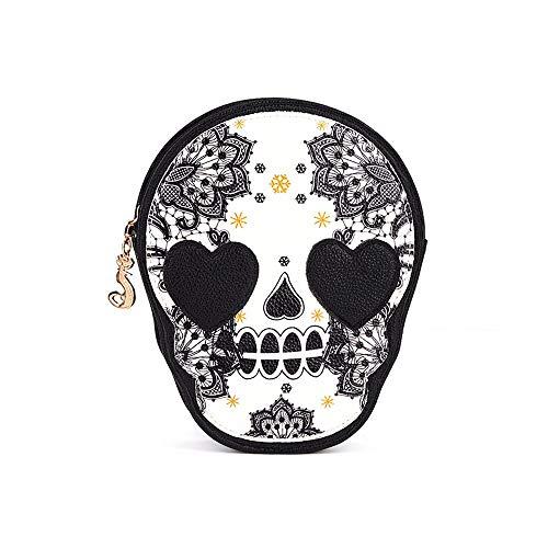 JESPER Women Black Skull Shoulder Messenger Bag Handbag Purse (Pattern Women Shoulder Bags)