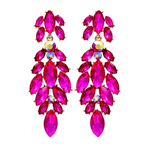 Iris Island Womens Austrian Crystal Rhinestone Dangle Earrings Fuchsia for Proms Wedding Party