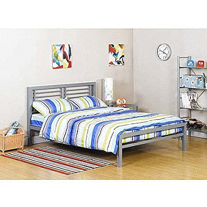 Amazon.com: Silver Metal Full Size Platform Bed Black Furniture ...