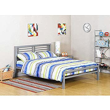 silver metal full size platform bed black furniture headboard footboard and rails frame industrial new