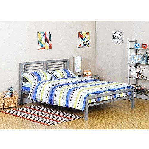 Industrial Platform (Silver Metal Full Size Platform Bed Black Furniture Headboard Footboard and Rails Frame Industrial New)