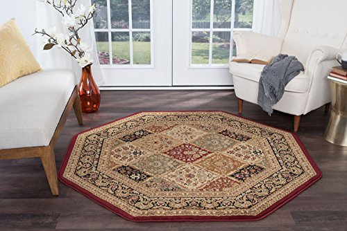 Princeton Traditional Oriental Red Octagon Area Rug, 5' Octagon Beige 6' Octagon Area Rug