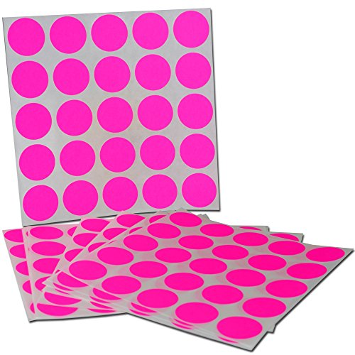(Color Coding Labels Super Bright Fluorescent Neon Pink Round Circle Dots for Organizing Inventory 1 Inch 1000 Total Adhesive Stickers (Fluorescent Pink))