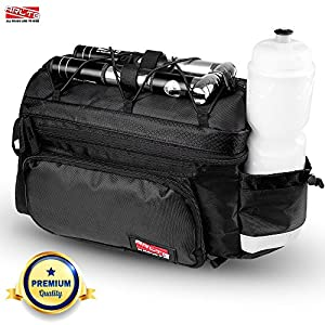 Arltb Bike Rear Bag (3 Colors) 20 - 35L Waterproof Bicycle Trunk Bag with Rain Cover Shoulder Strap Bike Pannier Tail Back Seat Bag Package Handbag Bike Accessories (Black, one size)