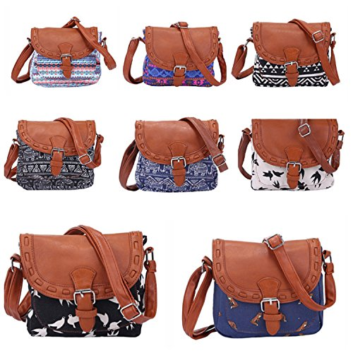 NOTAG Ways Crossbody Colorful1 Bag Print Vintage PU Women Canvas Leather Casual Shoulder 2 Bag Travel wqxwpr