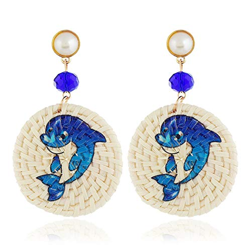 - Cute Rattan Earrings for Women Girls Handmade Straw Wicker Braid Drop Dangle Statement Stud Earrings