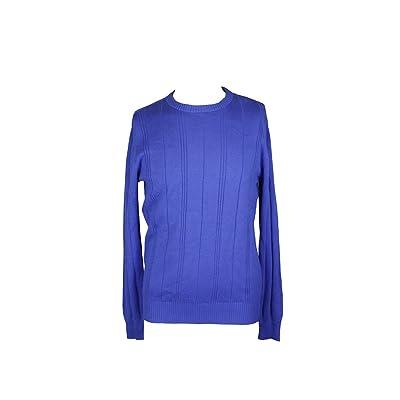 John Ashford City Mens Large Crewneck Ribbed Sweater Blue L