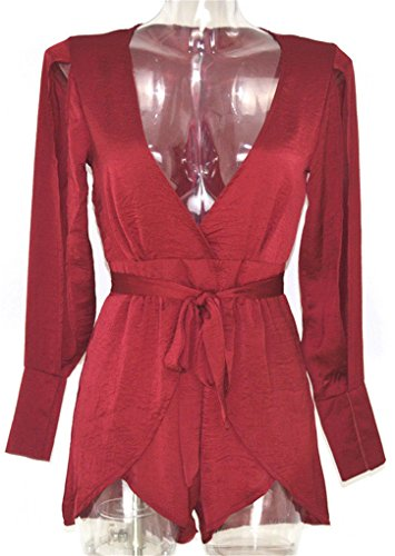 Women Sexy V Plunging Neckline Split Sleeve Playsuit Romper Jumpsuit Casual Spliced Layered - Tn Mall Knoxville