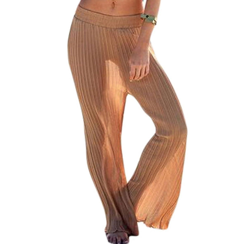 Christmas PEGGYNCO Womens Kahaki Pleat Chiffon Pants One Size