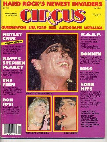Circus Magazine RATT Motley Crue DON DOKKEN CENTERFOLD Keel QUEENSRYCHE The Firm W.A.S.P. Bon Jovi LITA FORD July 31, 1985 C (Circus Magazine)