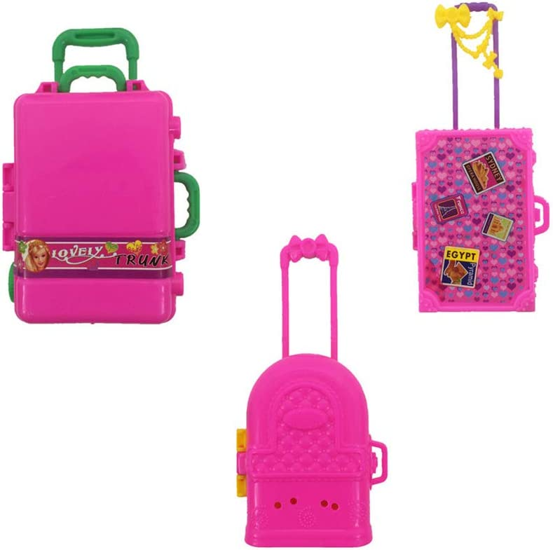 3 Unids Muñeca Mini Maleta, Accesorios para Barbie Doll House Miniatura Mini Maleta de Viaje Equipaje Modelo Prop Accesorios de Juguete para Barbie Niños Regalo de Las niñas