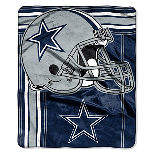 "The Northwest Company NFL Dallas Cowboys Touchback Plush Raschel Throw, 50"" x 60"", Navy Blue"