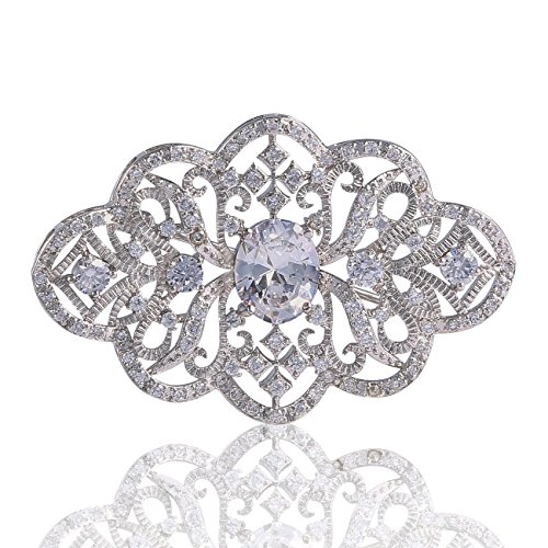 GULICX Unique Silver Plated Base Art Deco Clear Cubic Zirconia Wedding Pin Brooch Women Girls ()