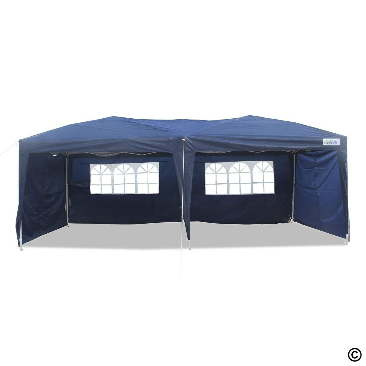 Goutime 10X20 Feet Easy Pop Up Canopy Tent with 4 Removable Sidewalls (10ft) and Wheeled Bag for Outdoor Events Navy Blue