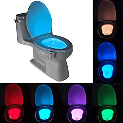 Syolee Toilet Nightlight Motion Activated Led Toilet Bowl Lighting with 8 Colors Changing Light Suitable for Any Toilets Bathroom Washroom