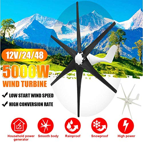XIAOXIAO 5000W 12V / 24V / 48V Wind Turbine, 6 Blade Wind Turbine Horizontal Household Power Windmill Energy Turbine Charging, Black,48V