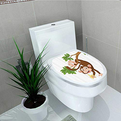 Bathroom Toilet seat Sticker Decal Funny Mkey Hanging from Tree Holding Banana Jungle Animals Theme Mascot Prin Decal Sticker Vinyl W15 x L17]()