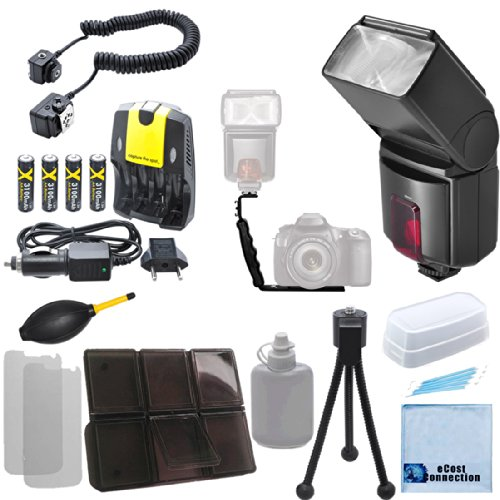 Dedicated Digital AF Flash for Nikon Cameras for DSLR Cameras, Angle Flash Bracket, Off-Camera Shoe Cord AF TTL, AA Rechargeable Batteries, Charger & eCostConnection Kit