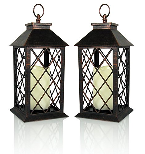 Decorative Lantern - Antiqued Bronze Candle Lantern with a Flameless LED Pillar Candle and 5 Hour Timer -Set of 2 - Outdoor Lighting - 13
