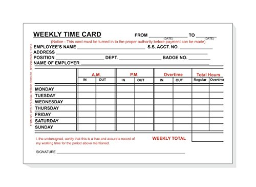 Weekly Employee Time Card - Employee Time Card, Weekly, Monday thru Sunday 4 x 6 BULK BOX of 10 packs,100 Per Pack Total of 1000 Cards