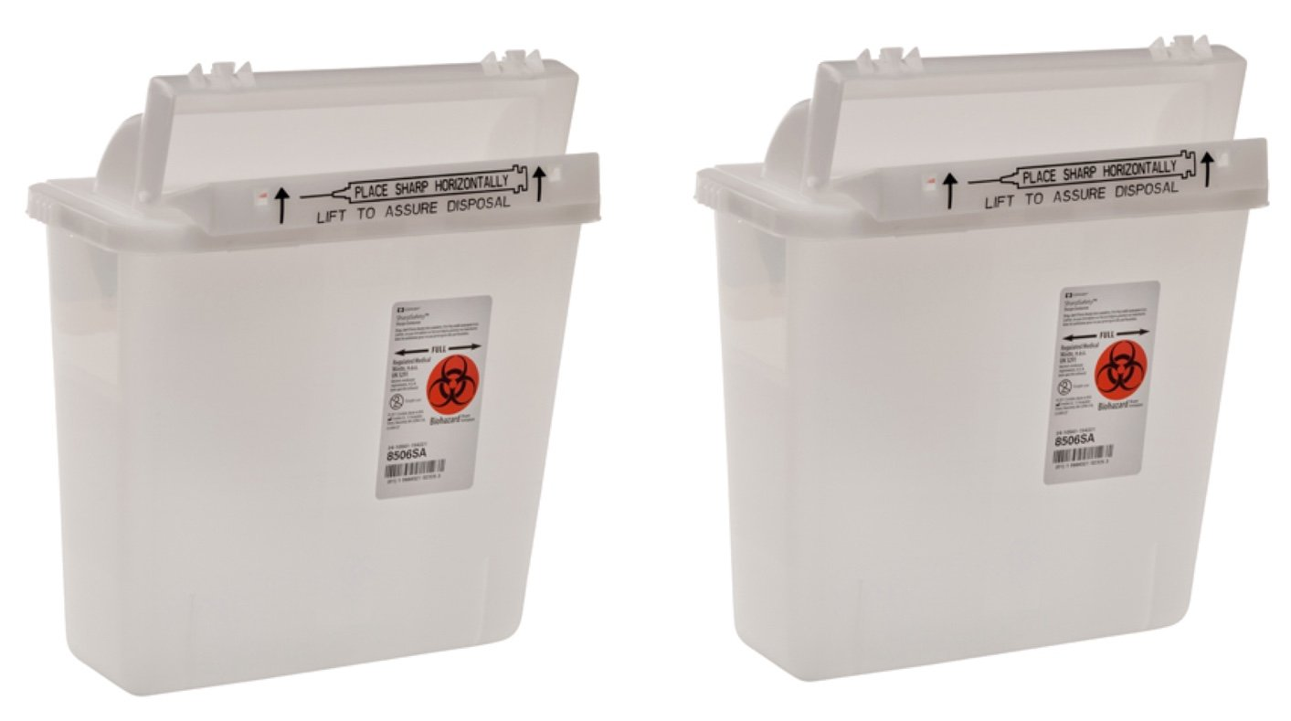 Sharps Container Set of 2, 5 Quart, Clear