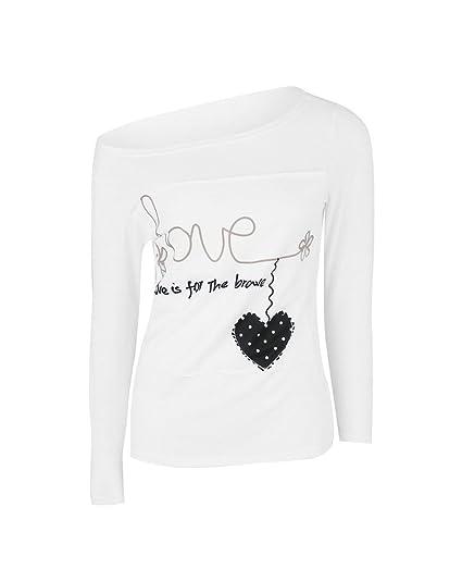 Battercake Camisetas Mujer Manga Larga Un Hombro Estampados Letra Y Forma De Corazón Casuales Mujeres Patrones