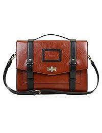 ECOSUSI Classic Ladies Satchel Bag PU Leather Briefcase 14.7 inch Laptop Flapover Messenger Bag Vintage Bridge School Backpack for Women