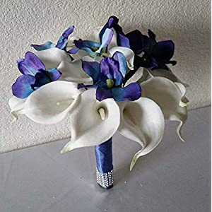 Peacock Purple Blue Turquoise Orchid Calla Lily Bridal Wedding Bouquet & Boutonniere 34