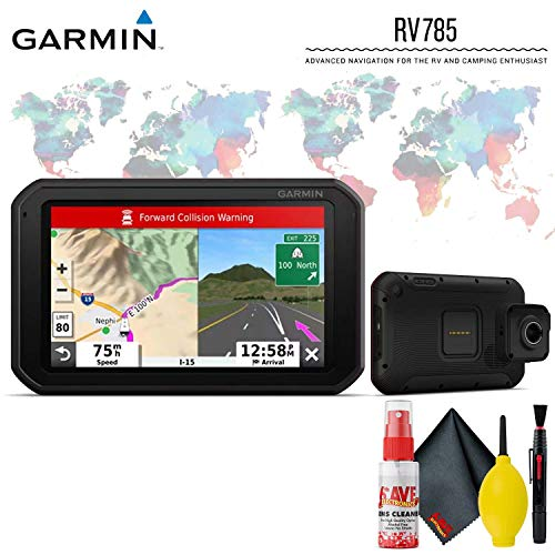 Garmin RV 785 & Traffic, Advanced GPS Navigator for RVs with Built-in Dash Cam, 7' Touch Display and Voice-Activated Navigation Base Accessory Kit