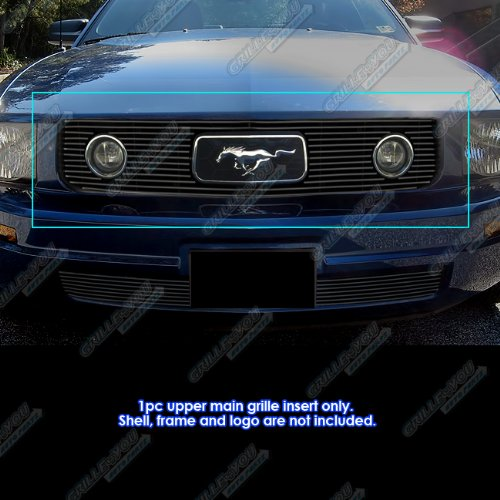 APS Compatible with 2005-2009 Ford Mustang V6 Pony Package Black Billet Grille Grill S18-H83256F ()