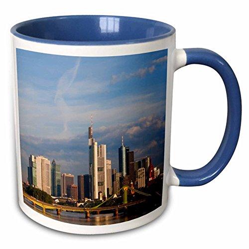 3dRose Danita Delimont - Germany - City Skyline Frankfurt Am Main Hessen Germany - 15oz Two-Tone Blue Mug (mug_227350_11)