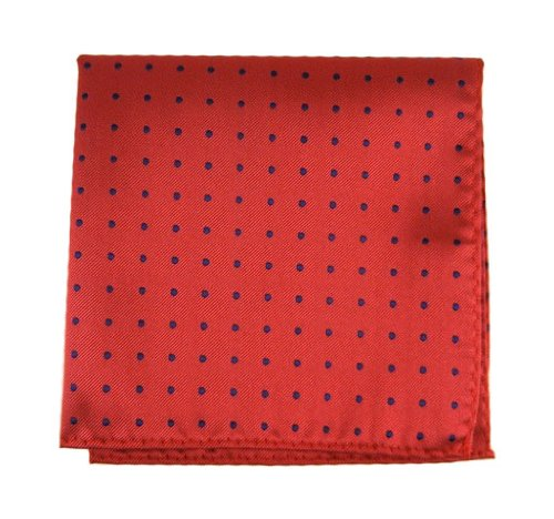 The Tie Bar 100% Woven Silk Red Hot Dots Patterned Pocket Square (Hot Red Dot)