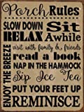 Porch Rules Metal Sign, Motivational Rules to Live By, Positive Thinking, Modern Decor