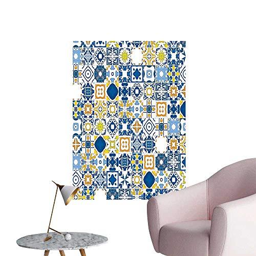Modern Decor Blue Mosaic Portuguese Azulejo with Mediterranean Arabesque Effect Print Violet Blue Orang Ideal Kids Decor or Adults,28