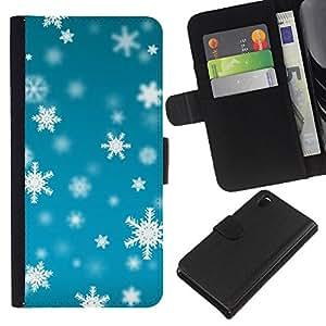 iBinBang / Flip Funda de Cuero Case Cover - Winter Blue Bright Snow - Sony Xperia Z3 D6603 / D6633 / D6643 / D6653 / D6616