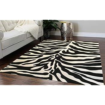 Amazon Com Modern Area Rug Sculpted Zebra Print 8 Ft X