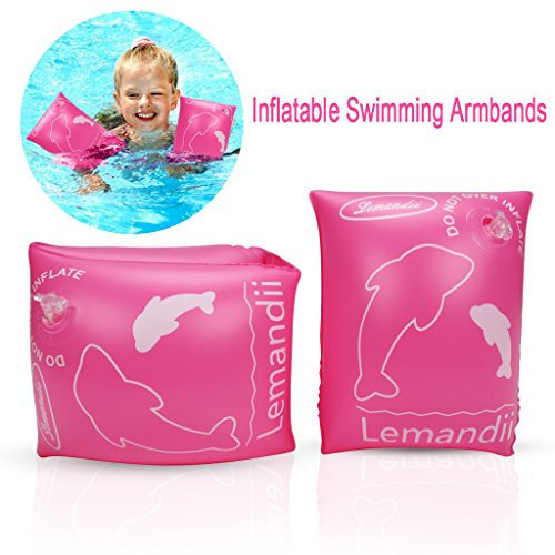 edealing Swimming Inflatable Armbands, Floats Water Wings Arm Bands Training Aid Swim Pool for Baby (1-4 Years) (Pink)
