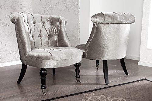 Stylischer Design Sessel JOSEPHINE Silbergrau Polstersessel Stuhl