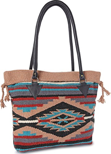 Handwoven Wool Malibu Purse with Genuine Leather handles. Large Eco Friendly Tote Bag, Native American Styles ((C) Black Pyramid)