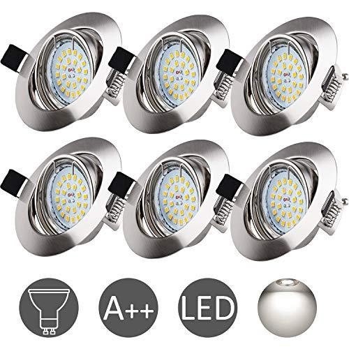 6x Recessed Spotlight Nickel Matt Frame Gu10 Halogen Ceiling Spotlight LED Suitable