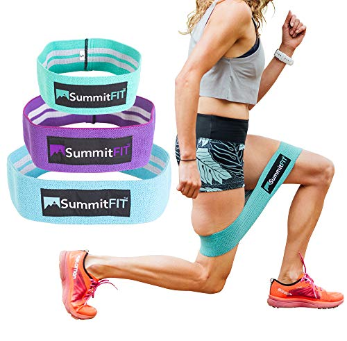 SummitFIT Resistance Hip Band – Workout Hip Exercise Bands - Exercise Hip Circle Bands – Exercise Bands for Legs, Butt Workout – Wide, Thick, Cloth, Non-Slip Grippy Glute, Booty Bands, 3-Pack