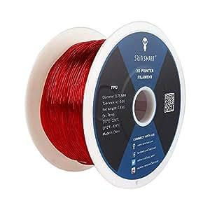 SAINSMART 1.75mm Flexible TPU 3D Printing Filament, Dimensional Accuracy +/- 0.05 mm, 0.8 KG Spool, 1.75 mm, Red