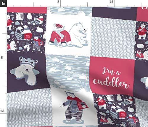 Spoonflower Plaid Fabric - Plaid Quilt Bear Rabbit Plaid Patch Work Wholecloth Polar Bear Arctic Animals Print on Fabric by The Yard - Minky for Sewing Baby Blankets Quilt Backing Plush Toys ()