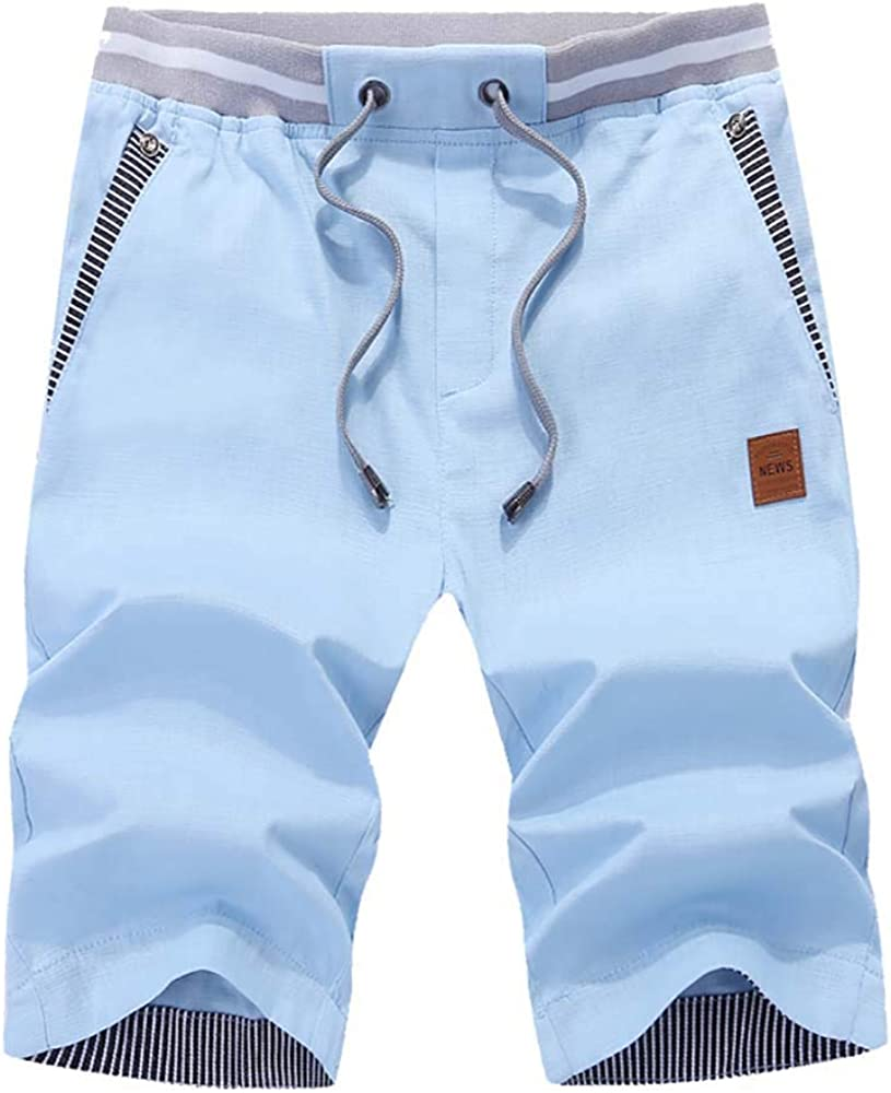 YIMANIE Mens Cotton Casual Shorts Elastic Waist Pockets